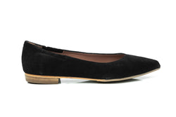 black suede pointy toe sacchetto flat skimmers shoes for women in extended large sizes 9, 10, 11, 12, 13, 14 handmade in Spain outside view