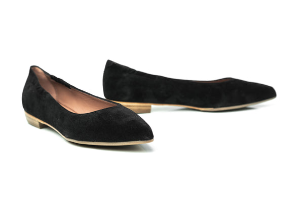 black suede pointy toe sacchetto flat shoes for women in extended large sizes 9, 10, 11, 12, 13, 14 handmade in Spain main view