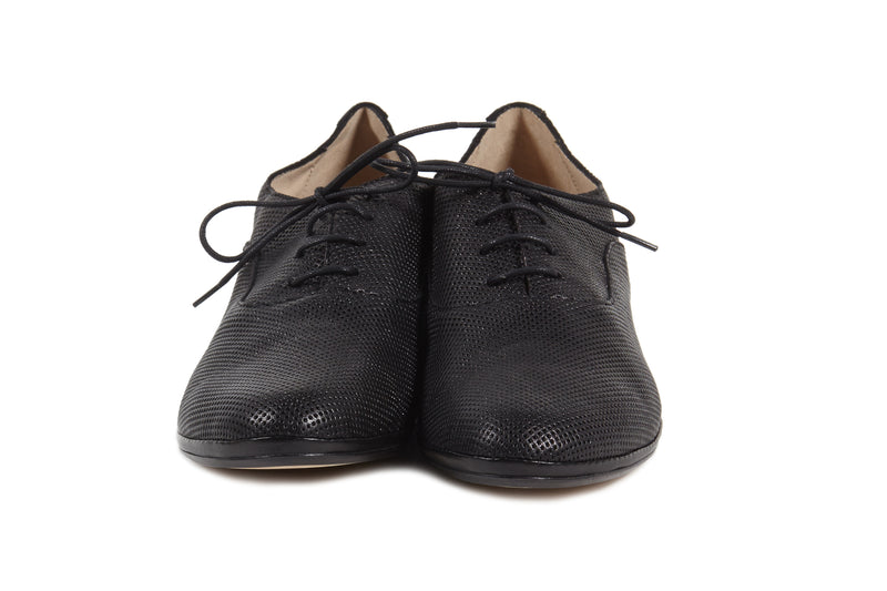 LETTA - Black Sacchetto oxford shoes made in Italy