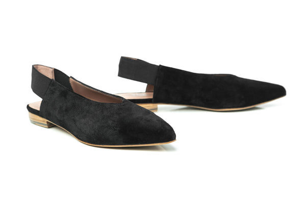 black suede pointy toe flat slingback slip on shoes for women in extended large sizes 9, 10, 11, 12, 13, 14 handmade in Spain main view