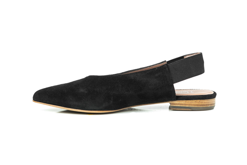 black suede pointy toe flat elastic slingback slip on shoes for women in extended large sizes 9, 10, 11, 12, 13, 14 handmade in Spain inside view