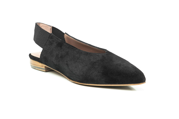 black suede pointy toe flat slingback slip on shoes for women in extended plus sizes 9, 10, 11, 12, 13, 14 handmade in Spain side view