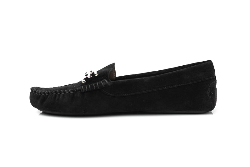 black soft suede flat driving moccasins slip on women's shoes in extended plus sizes 9, 10, 11, 12, 13, 14 handmade in Spain inside view