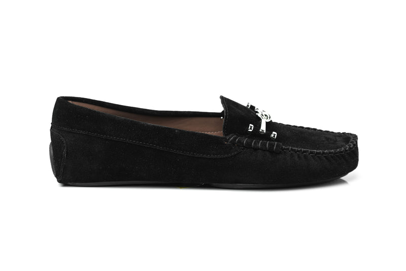 black soft suede flat driving moccasins slip on women's comfortable shoes in extended large sizes 9, 10, 11, 12, 13, 14 handmade in Spain outside view