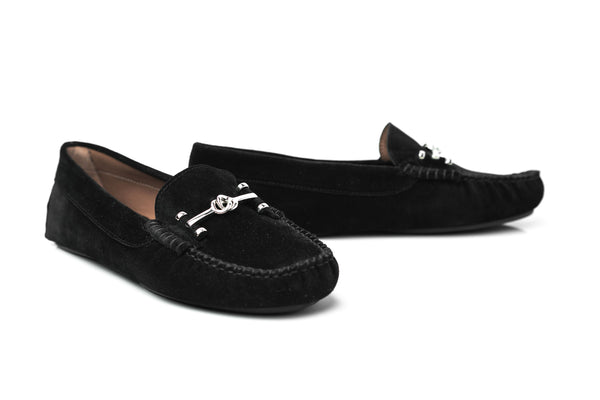 MADISON - Black suede flat moccasins Handmade in Spain