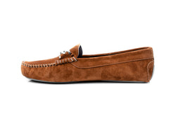 brown cognac soft suede silver chain metal keeper flat driving moccasins slip on women's shoes in extended plus sizes 9, 10, 11, 12, 13, 14 handmade in Spain inside view