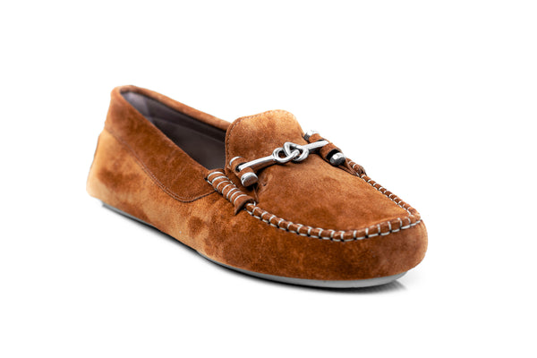 brown cognac soft comfortable suede silver chain metal keeper flat driving moccasins slip on women's shoes in extended large sizes 9, 10, 11, 12, 13, 14 handmade in Spain outside view