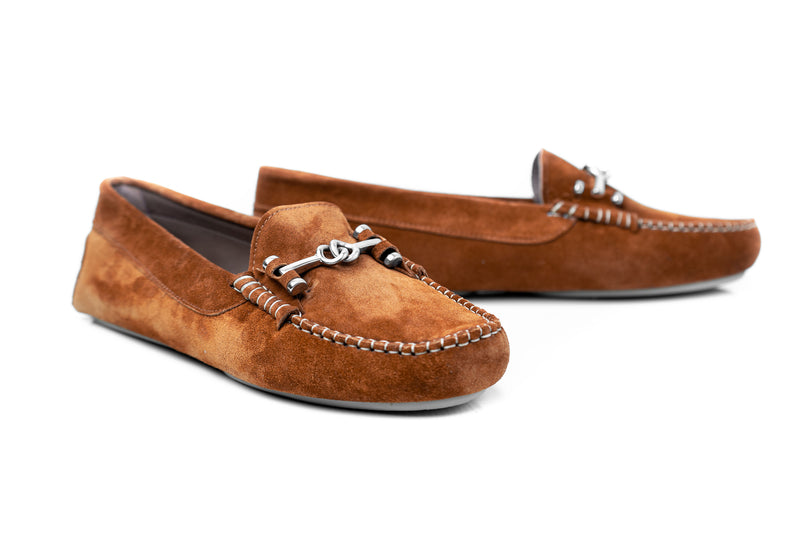 MADISON - Brown suede flat moccasins Handmade in Spain
