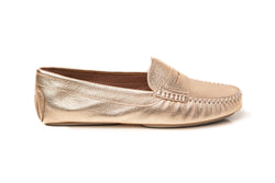 gold metallic leather comfy classic penny keeper flat driving moccasins slip on women's shoes in extended large sizes 9, 10, 11, 12, 13, 14 handmade in Spain outside view