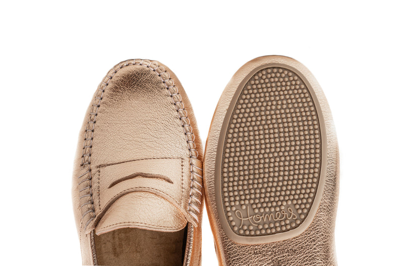 NINA - Gold soft grain leather flat moccasins Handmade in Spain