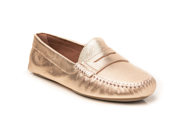 gold metallic leather classic penny keeper comfortable flat driving moccasins slip on women's shoes in extended large sizes 9, 10, 11, 12, 13, 14 handmade in Spain side view