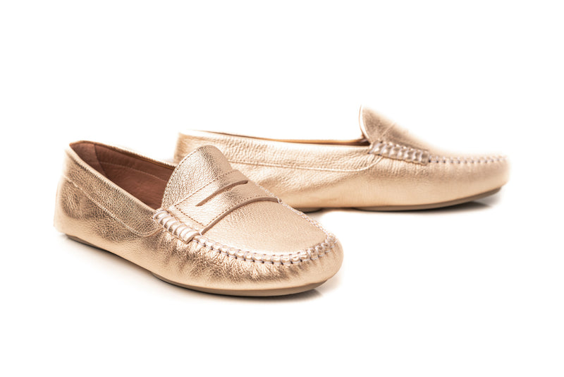 gold metallic leather classic penny keeper flat driving moccasins slip on women's shoes in extended large sizes 9, 10, 11, 12, 13, 14 handmade in Spain main view