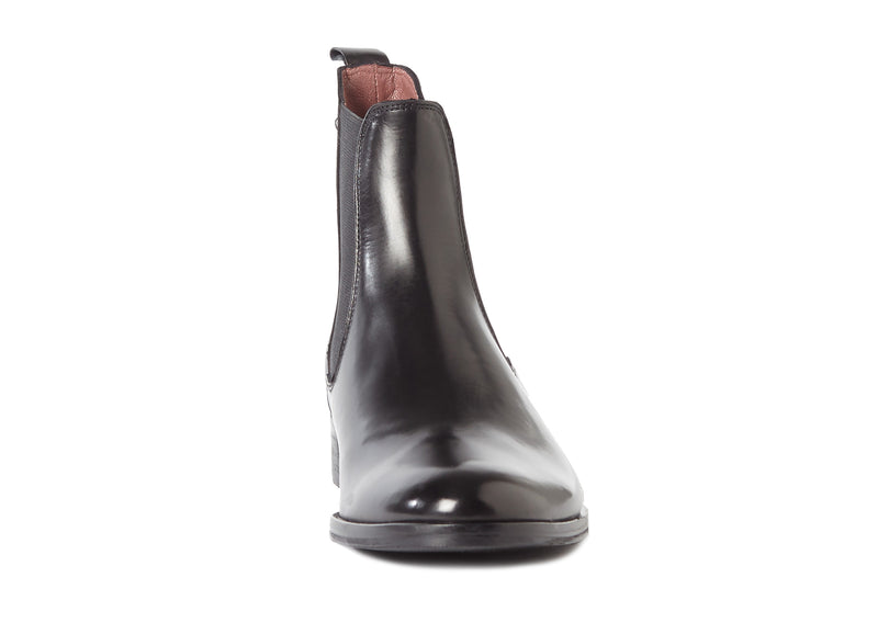 black all genuine leather women's classic dress polished Italian Chelsea boots in extended large sizes 9, 10, 11, 12, 13 made in Italy front view