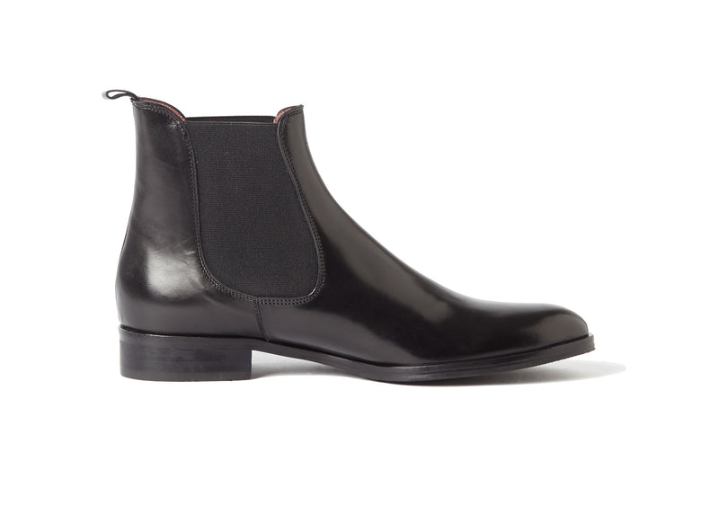 black all genuine leather women's classic dress Italian Chelsea boots in extended large sizes 9, 10, 11, 12, 13 made in Italy outside view