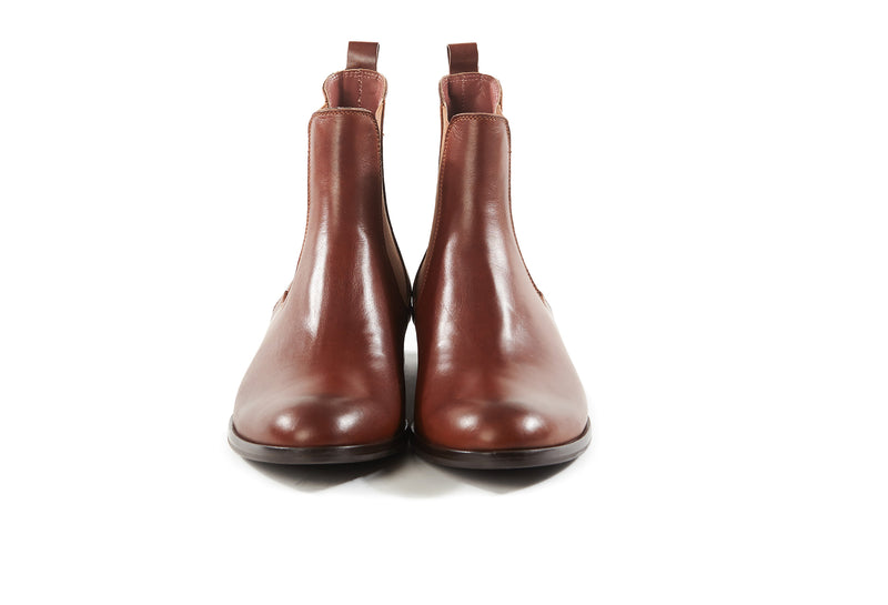 cognac brown all genuine leather women's classic Italian Chelsea boots in extended large sizes 9, 10, 11, 12, 13 made in Italy front view