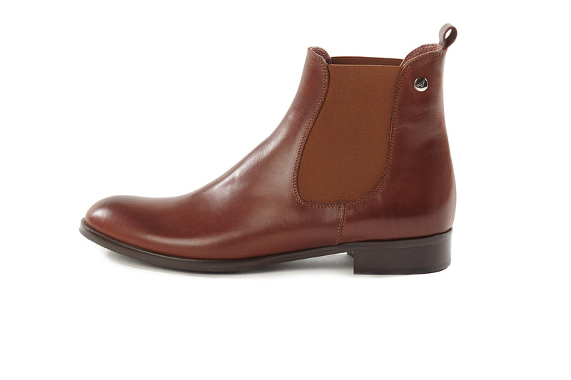 cognac brown all genuine leather women's classic Italian Chelsea boots in extended large sizes 9, 10, 11, 12, 13 made in Italy outside view