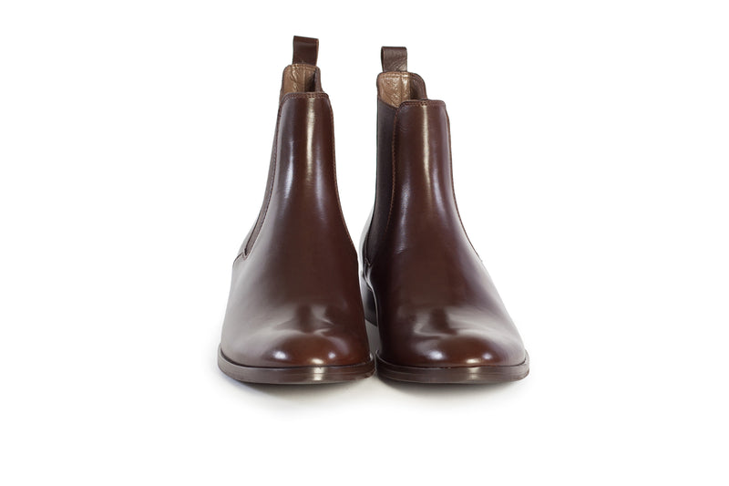 chocolate brown all genuine leather women's classic Italian Chelsea boots in extended plus sizes 9, 10, 11, 12, 13, 14 handmade in Italy front view