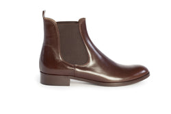 dark brown all genuine leather women's classic Italian Chelsea boots in extended large sizes 9, 10, 11, 12, 13, 14 handmade in Italy outside view