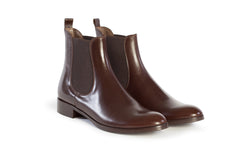 dark chocolate brown all genuine leather women's classic Italian Chelsea boots in extended large sizes 9, 10, 11, 12, 13, 14 handmade in Italy main view