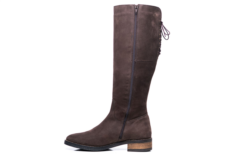 SAVANNA XL - Wide Calf Boots in Brown Nubuck