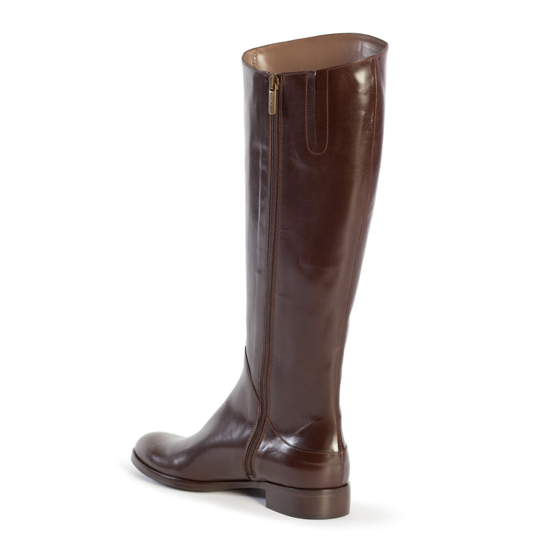 large boots, tall boots, riding boots, equestrian boots, polo boots, size 13 boots, size 12 boots, womens brown boots, Simona in dark brown Italian leather with inside zipper and elastic gore in plus size 9,10,11,12,13, made in Italy inside view