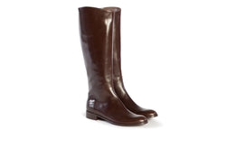 large boots, tall boots, riding boots, equestrian boots, polo boots, size 13 boots, size 12 boots, womens brown boots, Simona in dark brown Italian leather with inside zipper and elastic gore in plus size 9,10,11,12,13, made in Italy main view