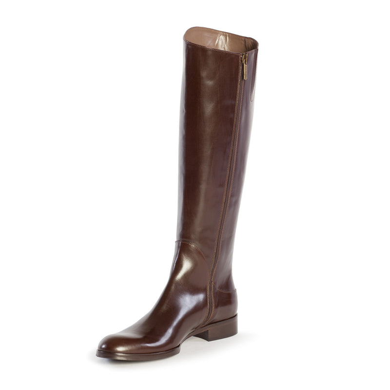 large boots, tall boots, riding boots, equestrian boots, polo boots, size 13 boots, size 12 boots, womens brown boots, Simona in dark brown Italian leather with inside zipper and elastic gore in plus size 9,10,11,12,13, made in Italy side view