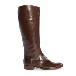 Women's Italian Handmade Designer Chestnut Brown Tall Riding Boots, Simona