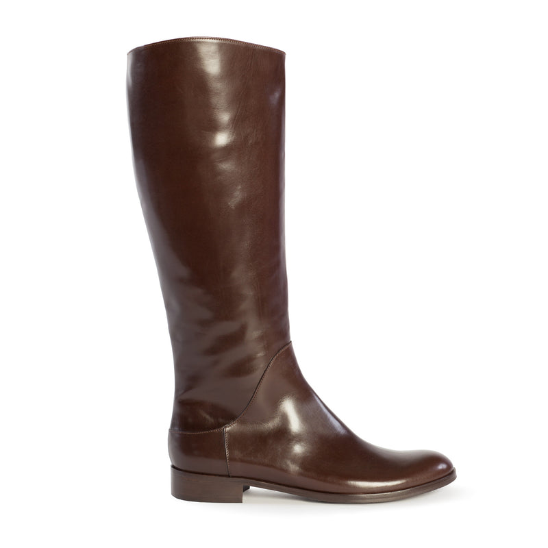 Women's Italialarge boots, tall boots, riding boots, equestrian boots, polo boots, size 13 boots, size 12 boots, womens brown boots, Simona in dark brown Italian leather with inside zipper and elastic gore in plus size 9,10,11,12,13, made in Italy outside viewn Handmade Designer Chestnut Brown Tall Riding Boots, Simona