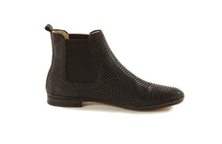 black perforated leather soft and comfortable sacchetto women's  slip on Chelsea ankle boots in extended large sizes 9, 10, 11, 12, 13 made in Italy inside view