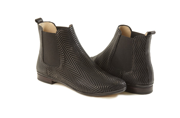 VERA- Black Sacchetto slip on summer booties made in Italy