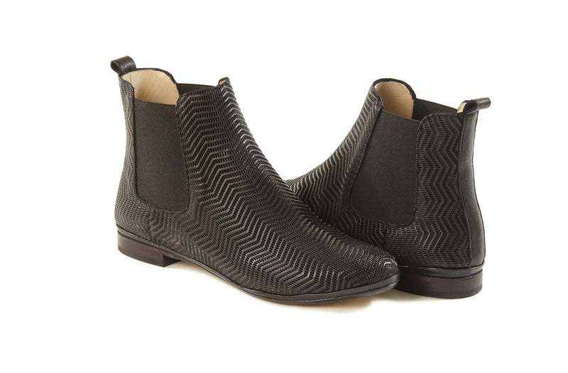 black perforated leather soft sacchetto women's  slip on Chelsea ankle boots in extended large sizes 9, 10, 11, 12, 13 made in Italy main view