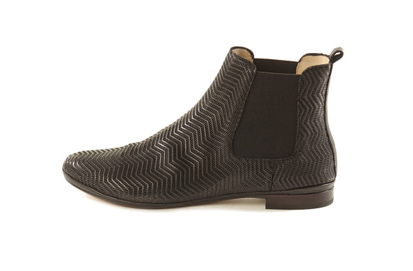 black perforated leather soft sacchetto comfortable women's  slip on Chelsea ankle boots in extended large sizes 9, 10, 11, 12, 13 made in Italy outside view