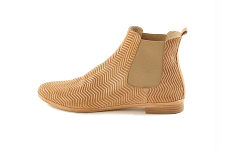 Women's Italian handmade sacchetto Tan leather ankle Chelsea boots