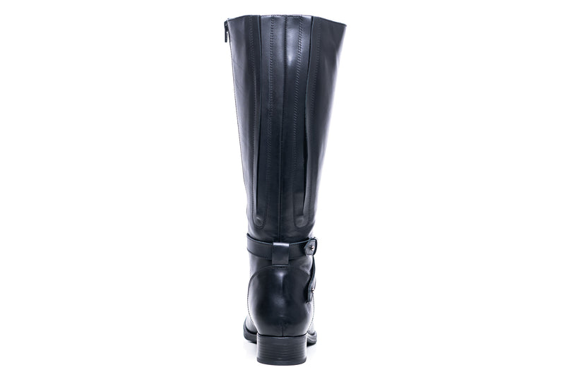 womens wide calf boots, 19 inch circumference, 20, 22, 21 in, super wide, large calf, fat legs, extended width, plus size, 13, 14, 12, 11, 10, black leather, tall, back view