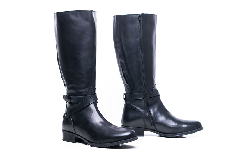 womens wide calf boots, 19 inch circumference, 20, 22, 21 in, super wide, large calf, fat legs, extended width, plus size, 13, 14, 12, 11, 10, black leather, tall, main view