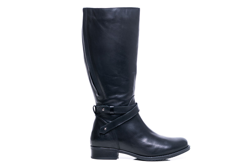 womens wide calf boots, 19 inch circumference, 20, 22, 21 in, super wide, large calf, fat legs, extended width, plus size, 13, 14, 12, 11, 10, black leather, tall, outside view