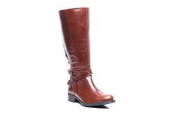 womens wide calf boots, 19 inch circumference, 20, 22, 21 in, super wide, large calf, fat legs, extended width, plus size, 13, 14, 12, 11, 10, brown tall genuine leather boots, side view