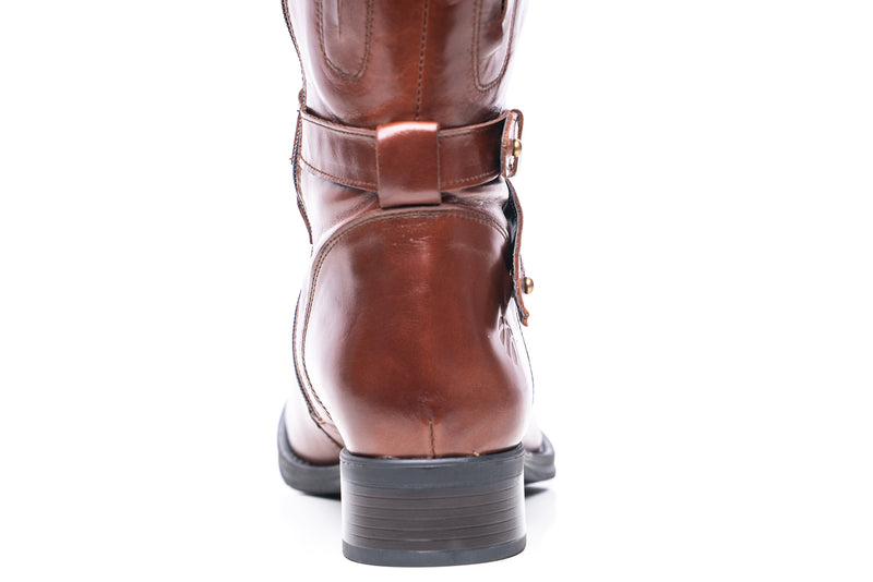 womens wide calf boots, 19 inch circumference, 20, 22, 21 in, super wide, large calf, fat legs, extended width, plus size, 13, 14, 12, 11, 10, brown tall genuine leather boots, back view