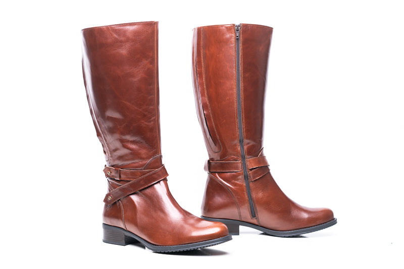 womens wide calf boots, 19 inch circumference, 20, 22, 21 in, super wide, large calf, fat legs, extended width, plus size, 13, 14, 12, 11, 10, brown tall genuine leather boots, main view