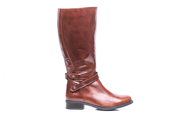 womens wide calf boots, 19 inch circumference, 20, 22, 21 in, super wide, large calf, fat legs, extended width, plus size, 13, 14, 12, 11, 10, brown tall genuine leather boots, outside view