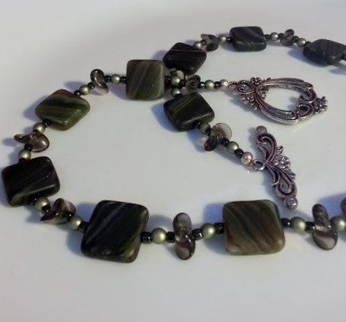 Grey Marble Squares Necklace