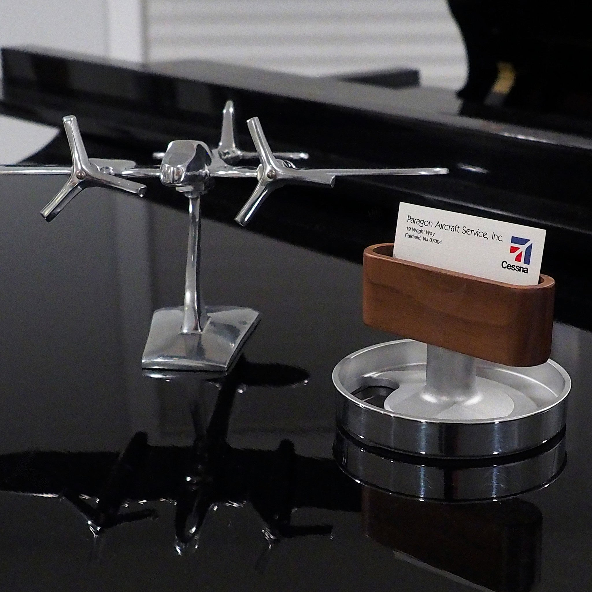Mid Century Modern Aviation Art Floating Business Card Display Stand ...