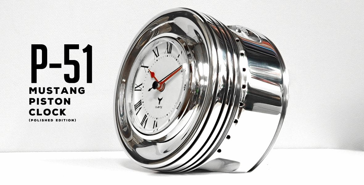 P-51 Mustang Piston Clock (Polished Edition)
