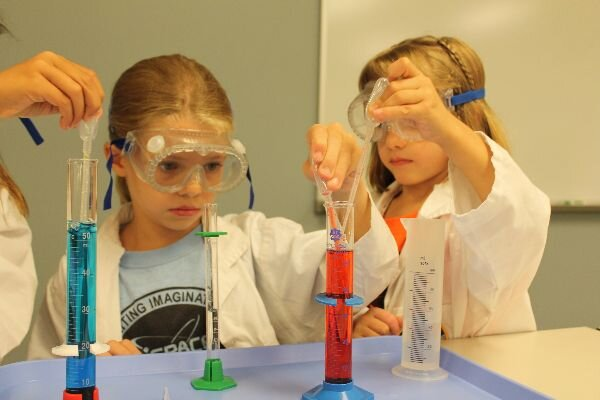 science investigations Girls-pipette-lab-working