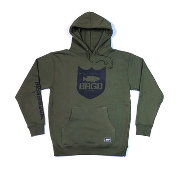 SHIELD LOGO PULLOVER HOODIE - OLIVE / BLACK