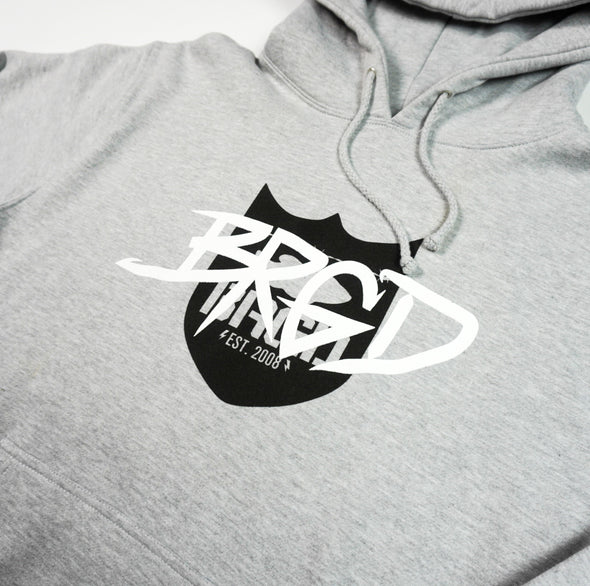 TAGGED SHIELD LOGO PULLOVER HOODIE - HEATHER GREY