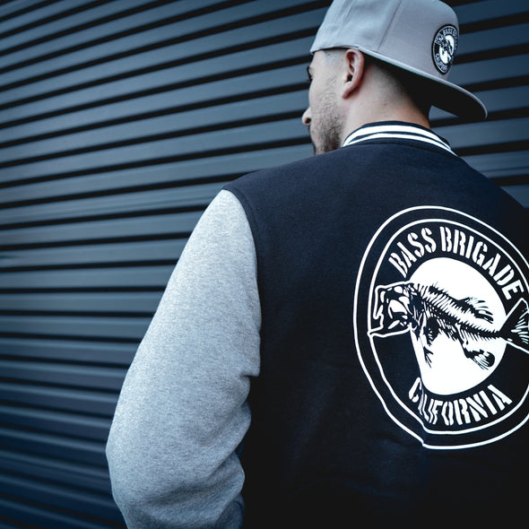 California Bass Varsity Sweater - Black/Heather Grey