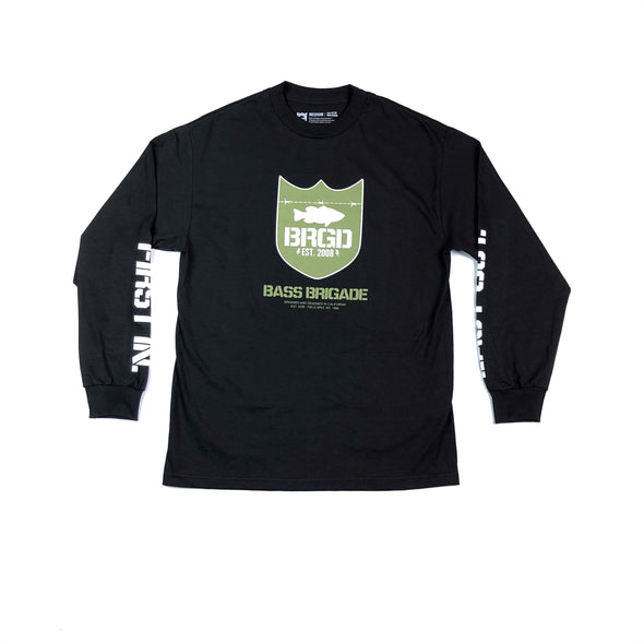 FIRST IN LAST OUT SHIELD LOGO TEE LONG SLEEVE - BLACK / OLIVE