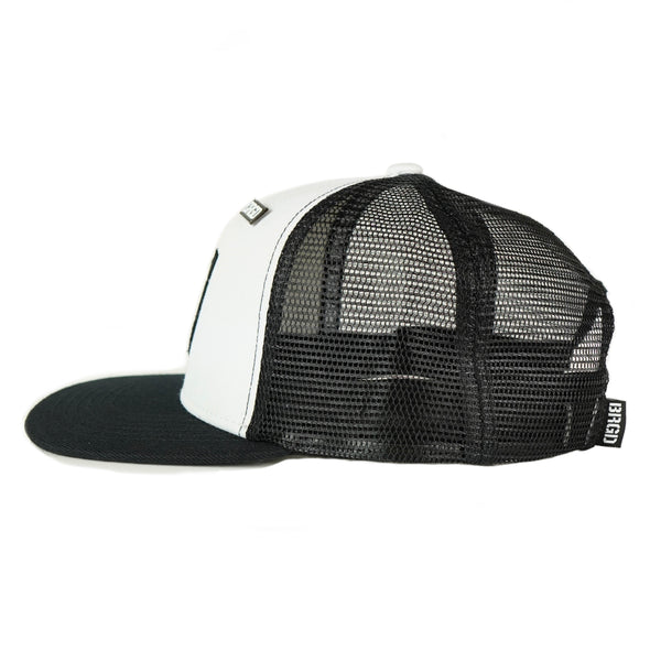 Custom Shield Patch Trucker Hat - White / Black